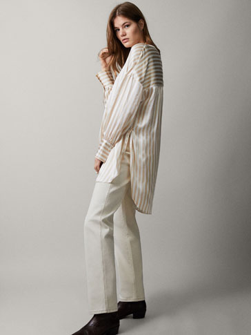 100% SILK STRIPED OVERSIZED BLOUSE