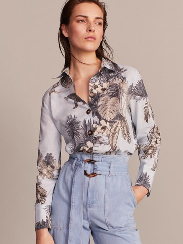FLORAL PRINT LINEN AND COTTON SHIRT