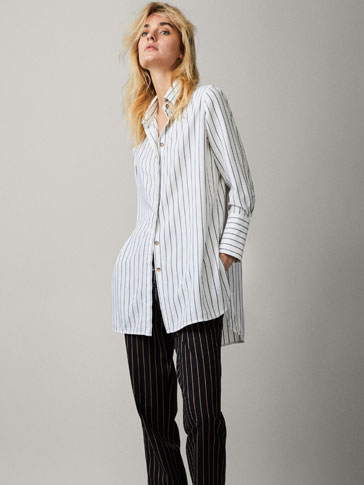 STRIPED SHIRT WITH CUFF BUTTONS