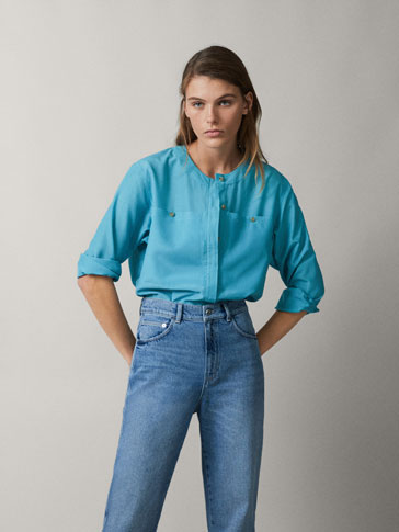COTTON SILK TOPSTITCHED SHIRT