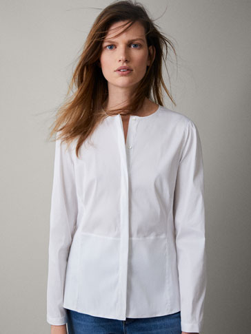 PLAIN STRETCH COTTON SHIRT