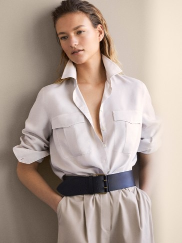 PLAIN LYOCELL SHIRT WITH POCKETS