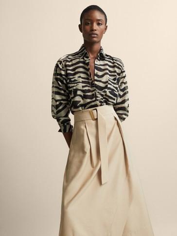 Zebra Print Cotton/Silk Shirt by Massimo Dutti