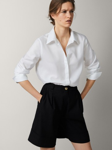 POPLIN SHIRT WITH PLEAT