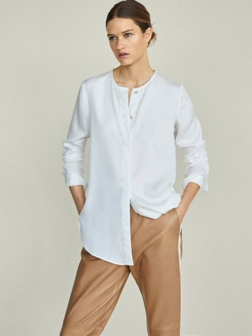 PLAIN LYOCELL OVERSIZED BLOUSE