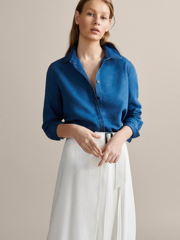 PLAIN LINEN AND COTTON SHIRT