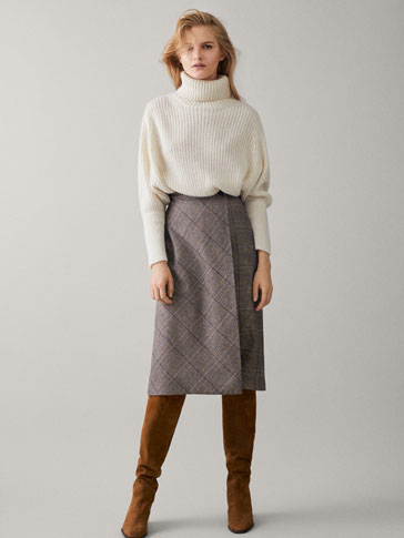 Check Wrap Skirt by Massimo Dutti
