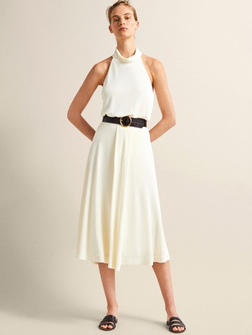 TEXTURED SKIRT WITH FRONT PLEAT