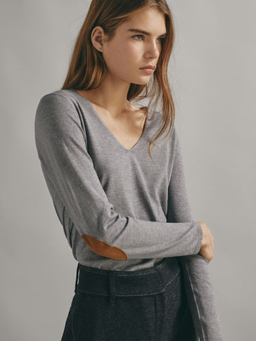 SILK/WOOL SWEATER WITH ELBOW PATCHES