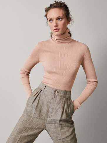 RIBBED WOOL SILK SWEATER