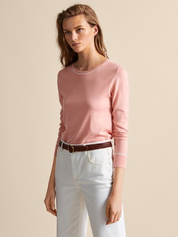 CONTRAST COTTON SILK SWEATER