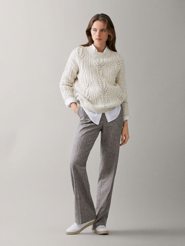 OPEN KNIT HEATHERED SWEATER