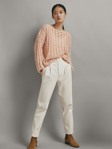 TEXTURED OPEN KNIT SWEATER