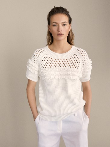 OPEN-KNIT SWEATER WITH FRINGING