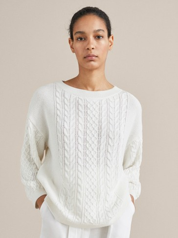 TEXTURED CABLE-KNIT CAPE SWEATER