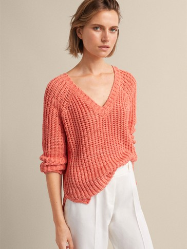 PURL-KNIT SWEATER