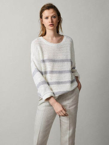 STRIPED TEXTURED SWEATER
