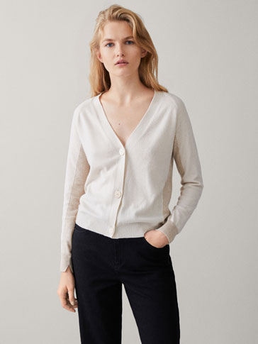 TWO-TONE INTARSIA CARDIGAN