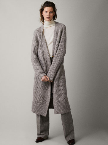 LONG HONEYCOMB STITCH TEXTURED CARDIGAN