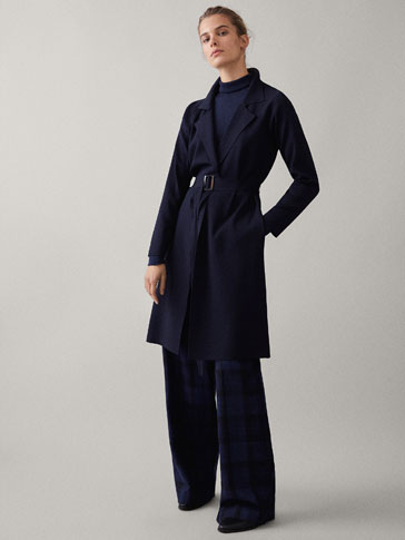 NAVY KNIT TRENCH COAT WITH BELT