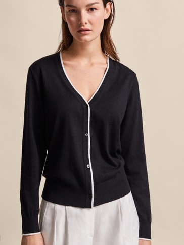 CONTRAST COTTON SILK CARDIGAN