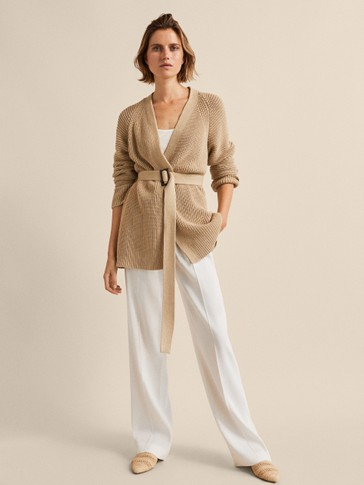 TEXTURED CARDIGAN WITH BELT