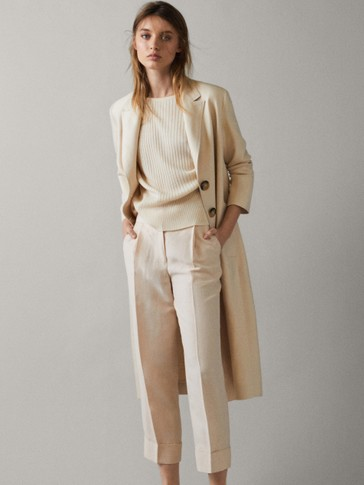 VERTICAL RIBBED CAPE SWEATER