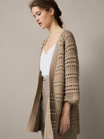 TEXTURED WEAVE COTTON CARDIGAN