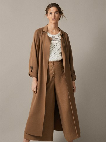 KNITTED TRENCH-STYLE CARDIGAN WITH BELT