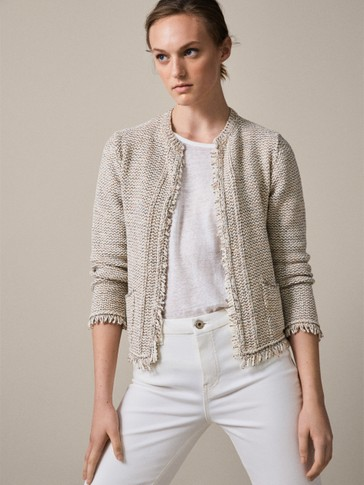 TEXTURED CARDIGAN WITH FRAYED TRIMS