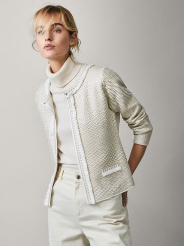 TEXTURED JACKET WITH GEM DETAIL