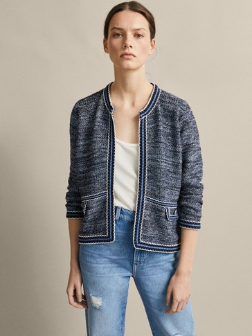 TEXTURED CARDIGAN WITH FLAPS
