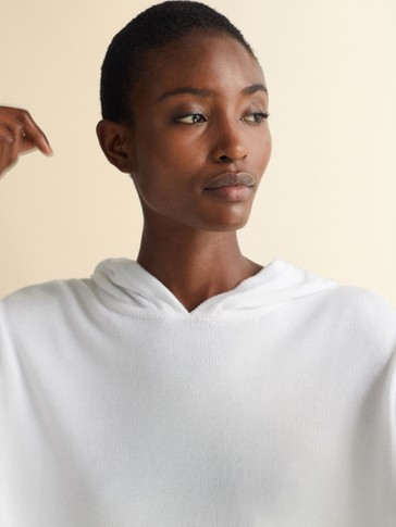 HOODED COTTON AND LYOCELL CAPE SWEATER