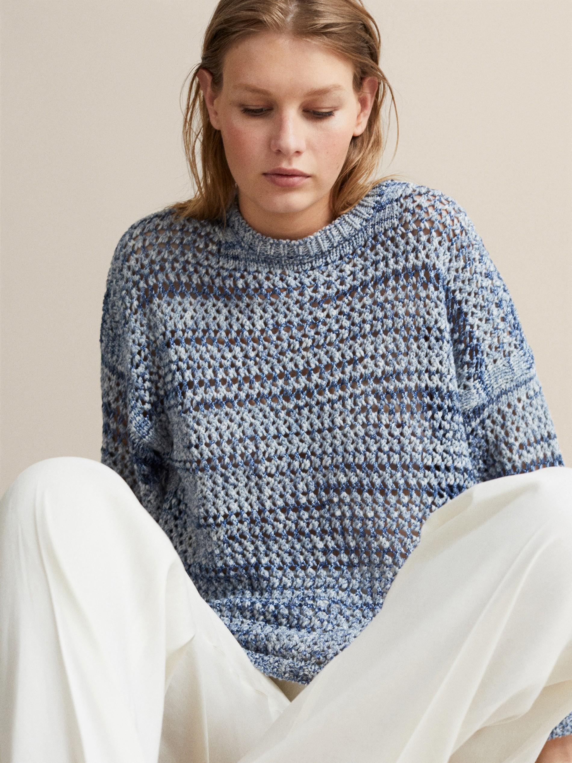 Sleeved Pieces Azul Knitted Long Women Pullover Blue Wool 92EDIH