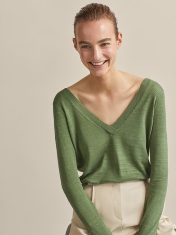 TEXTURED DOUBLE V-NECK SWEATER