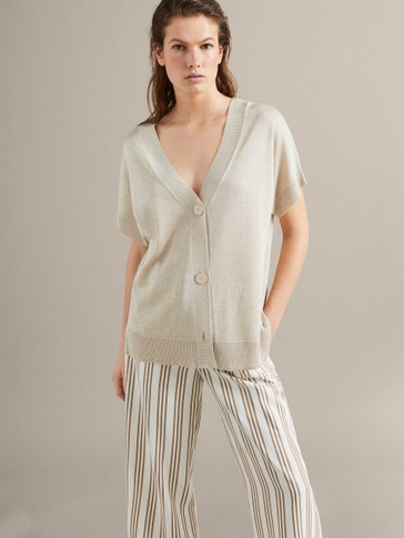 DOUBLE V-NECK CAPE CARDIGAN
