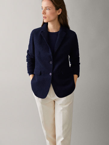 SLIM FIT NAVY BLUE TEXTURED COTTON/WOOL BLAZER