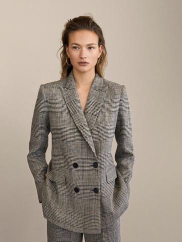 Slim Fit Check 100 Percents Linen Blazer by Massimo Dutti
