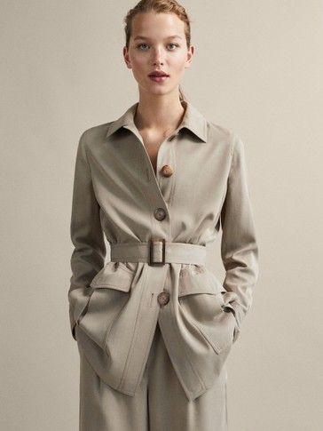 BELTED LYOCELL SAFARI JACKET