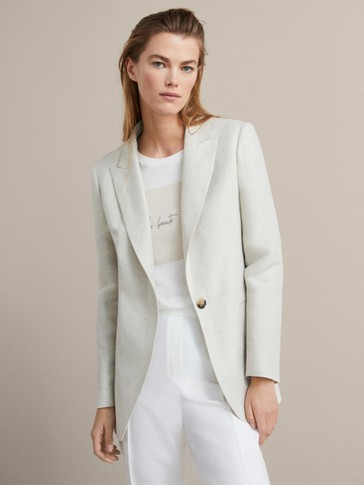 HERRINGBONE SLIM FIT LINEN BLAZER