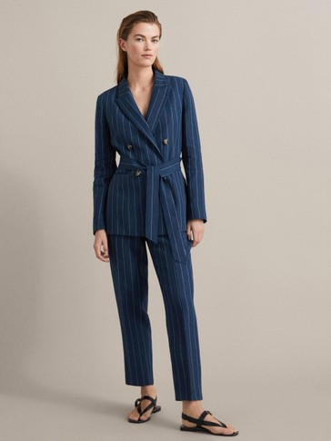 NAVY PINSTRIPE SLIM FIT LINEN COTTON BLAZER WITH BELT