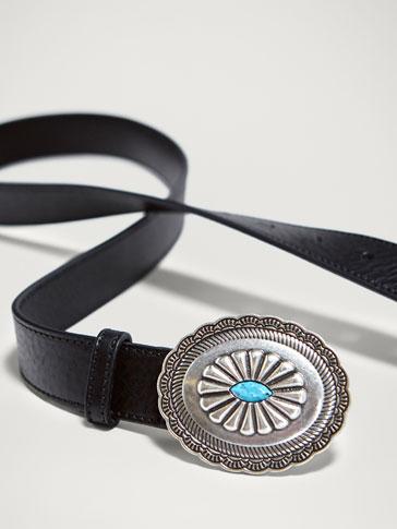 حزام جلد تفصيل معدني