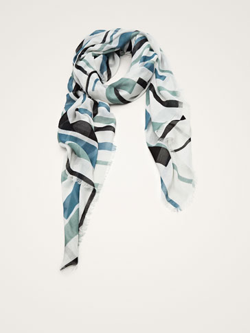 MULTISTRIPED PRINT SCARF