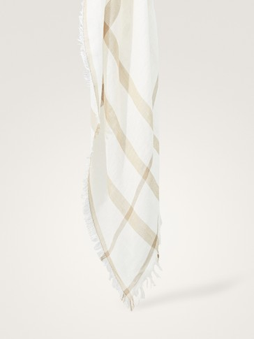 COTTON/LINEN SCARF WITH CONTRAST STRIPES