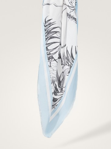 PALM LEAF PRINT COTTON/SILK SCARF