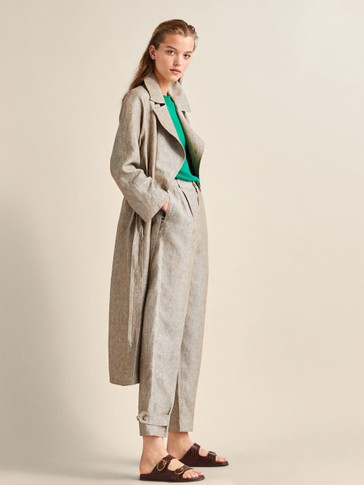 100% LINEN TRENCH COAT WITH BELT