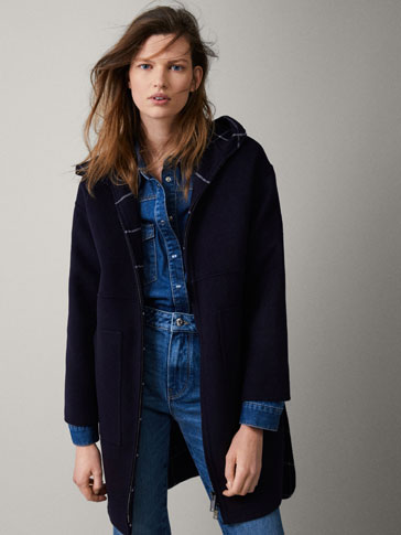 WOOL COAT WITH CHECK LINING
