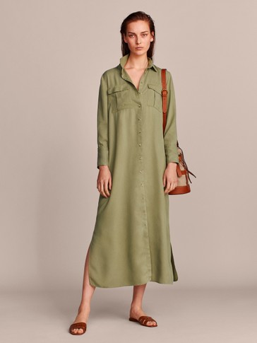 LYOCELL SHIRT DRESS WITH POCKETS