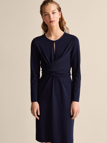 NAVY KNIT DRESS WITH BOW