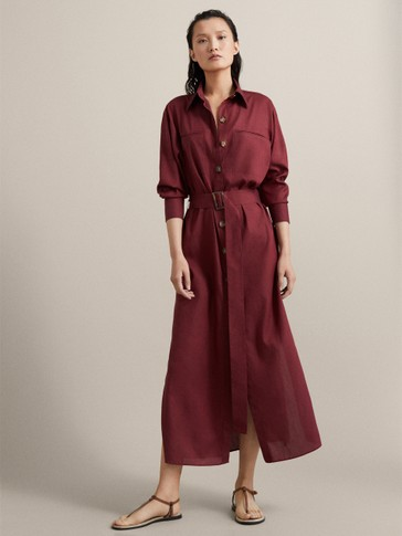 LYOCELL AND COTTON SHIRT DRESS WITH BELT